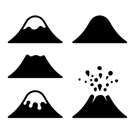 Volcano Icons Set. Vector