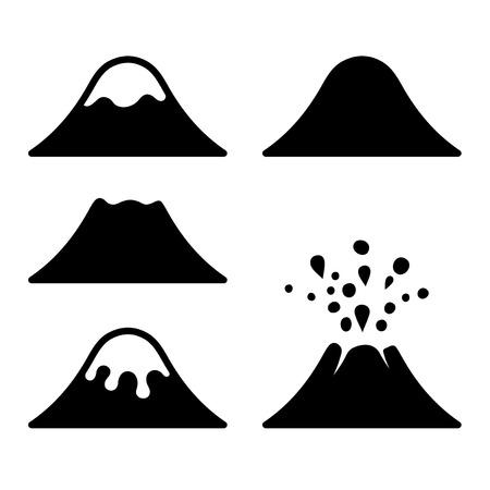 ausbrechen: Volcano Icons Set. Vektor