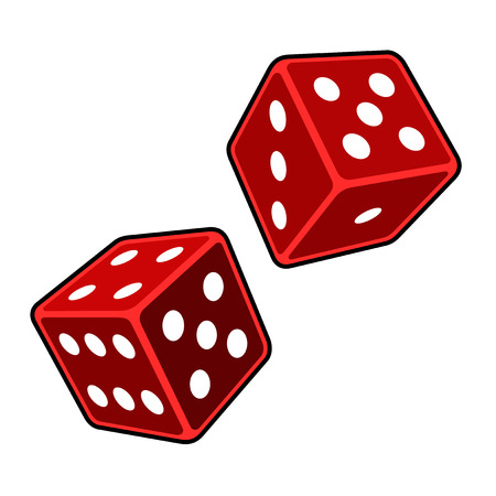 Red Dice Cubes on White Background. Vector Vettoriali