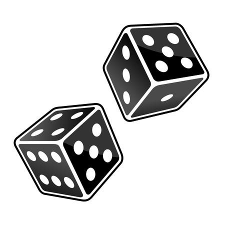 dados: Dos cubos Negro dados en el fondo blanco. Vector