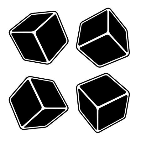 box set: Black Blank Box Set. Vector Illustration