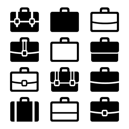 Briefcase Icons Set on White Background. Vector Vector