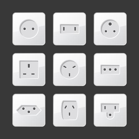 enchufe de luz: Eléctrico Blanco Outlet sockets Set. Vector