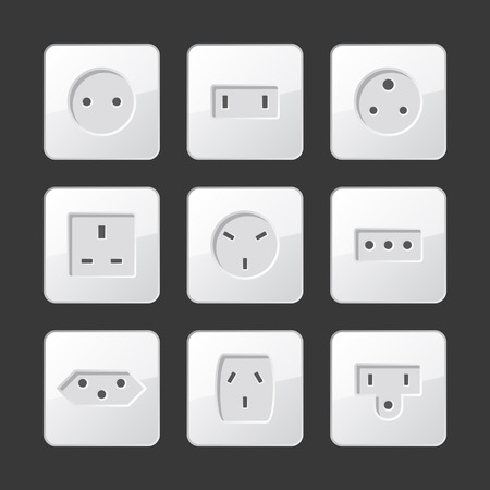 adapter: White Electric Outlet Sockets Set. Vector