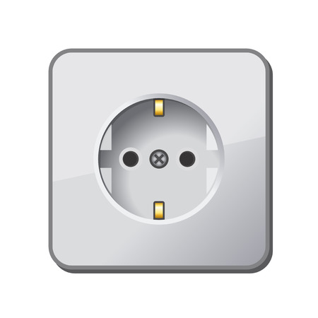outlet: White Electric Outlet. Vector.