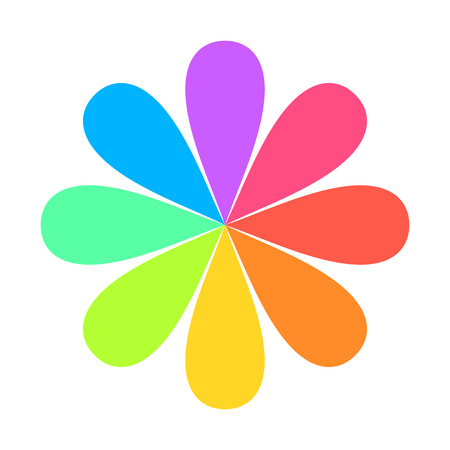 Abstract Geometric Rainbow Flower Logo. Vector Иллюстрация