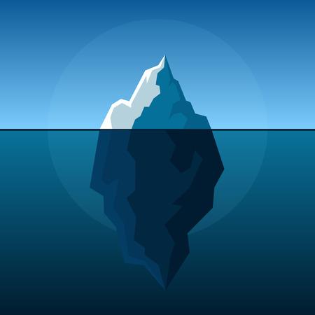 polar environment: White Iceberg on Blue Atlantic Background Vector