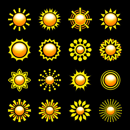 Glossy Sun Icons Set. Vector illustration Vector