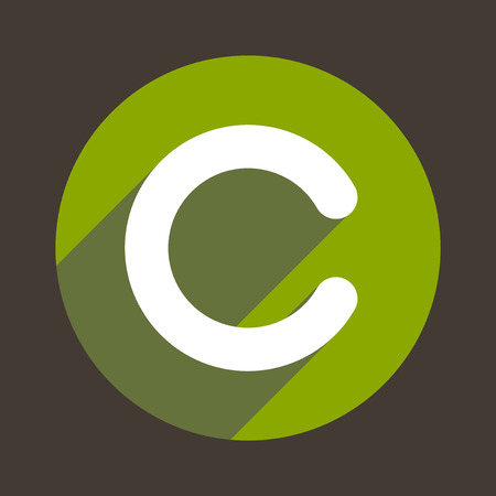 letter c: Letter C Flat Icon Style.