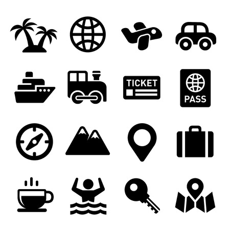 pasaporte: Iconos del recorrido fijados en el fondo blanco. Ilustración vectorial