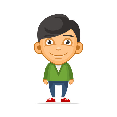 charismatic: Smiling Boy Wearing Green Sweater. Vector