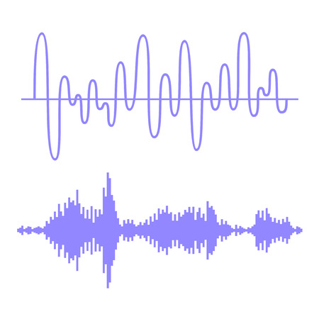 audio wave: Sound Waves Set Illustration