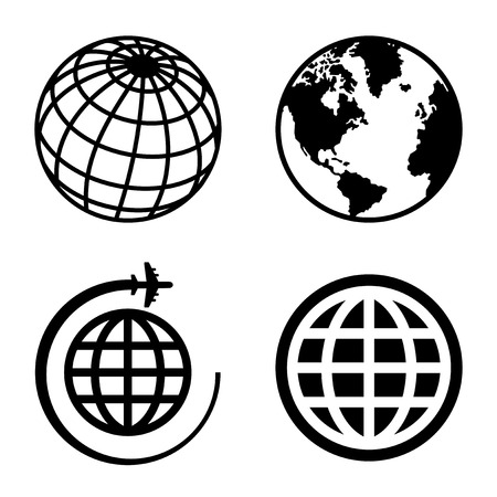 round icons: Earth Globe Icons Set. Illustration