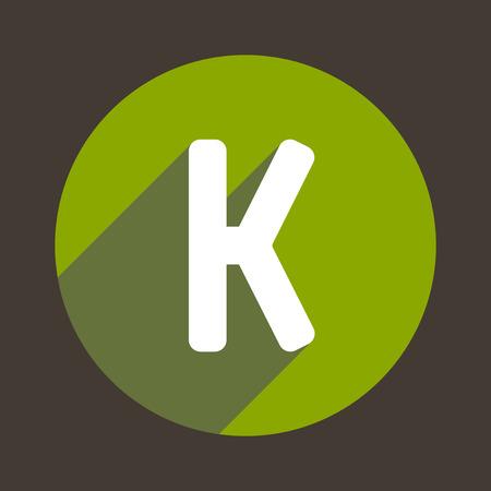 elemento: Lettera K dell'icona di marchio piatto stile. Vettore Vettoriali