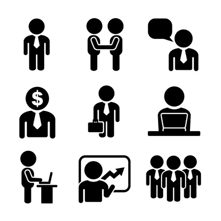 office people: Business and Office People Icon Set on White Background. Vector Illustration