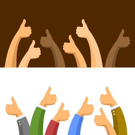 Thumbs Up Symbols Set on Light and Dark Background. Vector illustration Stock Illustratie