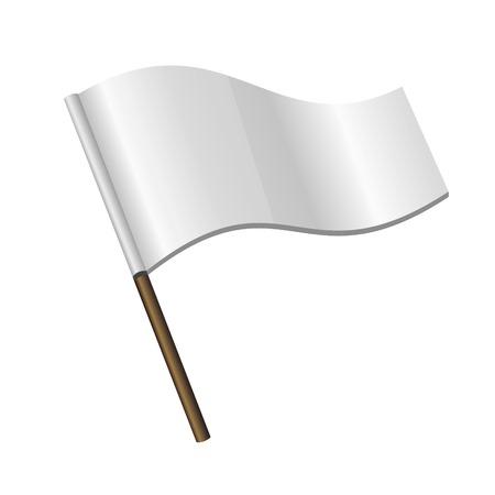 surrendering: White Curl Flag Icon on white background. Vector Illustration.