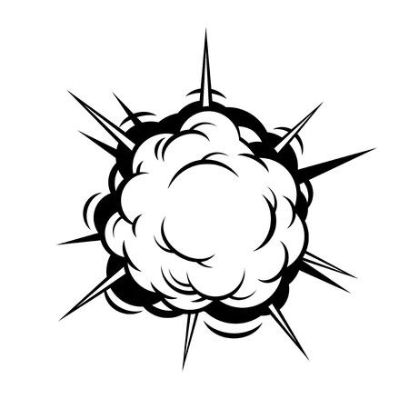 Comic Boom. Zwart Explosie op een witte achtergrond. Vector illustratie