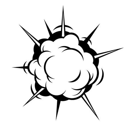 clash: Comic Boom. Black Explosion on White Background. Vector illustration Illustration