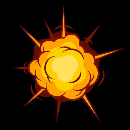 Kleur Comic Boom. Zwarte explosie op zwarte achtergrond. vector illustratie