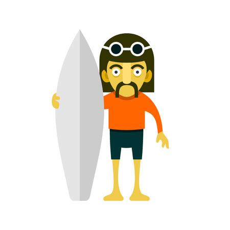 surfer vector: Surfer Man with Mustaches. Cartoon Style. Vector illustration Illustration