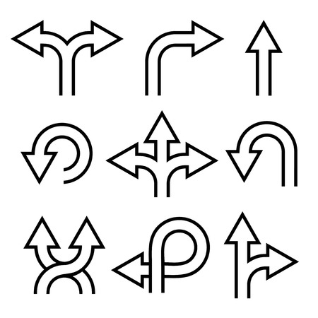 merge: Arrows Icons Set on White Background. Vector