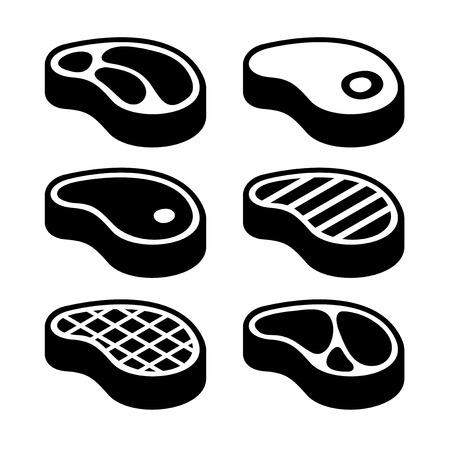 carne de res: Carne de vaca Carne de solomillo de conjunto de iconos. Ilustración vectorial
