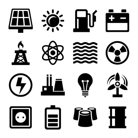 refinery engineer: Electricity Energy and Power Icons Set. Vector Illustration