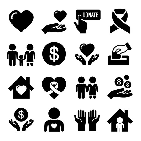 philanthropist: Charity and Care Icons Set on White Background. Vector