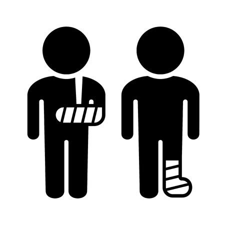 piernas hombre: Broken brazo y pierna de conjunto de iconos. Ilustración vectorial