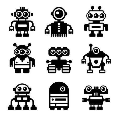 electronic: Robot Icon Set on White Background. Vector
