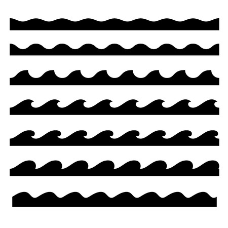 water icon: Seamless Wave Pattern Set. Vector Template Illustration