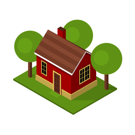 low floor: Isolated Isometric House Buildings with Garden and Trees. Vector illustration Illustration