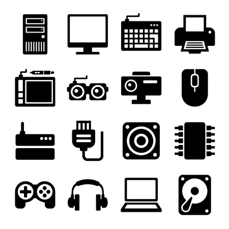 lcd monitor printer: Computer Icons Set on White Background. Vector illustration