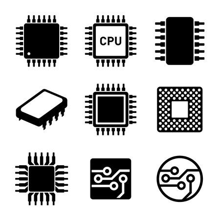 CPU 마이크로 프로세서와 칩 아이콘을 설정합니다. 벡터 일러스트 레이 션.