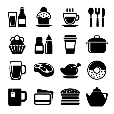 Restaurant and Cafe Food Drink Icon Set. Vector illustration