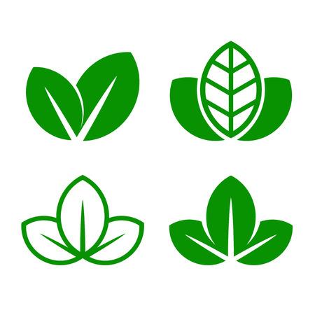 vegetate: Eco Green Leaf Icon Set. Vector illustration