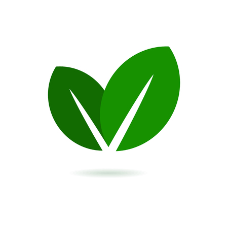 business mind: Eco Leaf . Green Vector Icon on White Background