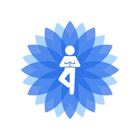 man meditating: Yoga Lotus Blue Icon with People Silhouette. Vector illustration