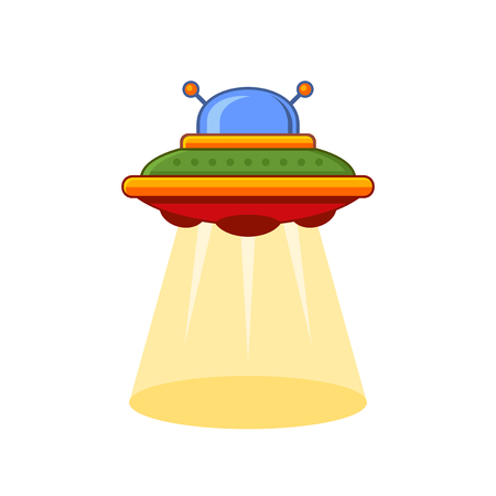 area 51: Cartoon Style UFO Vector Icon on White Background