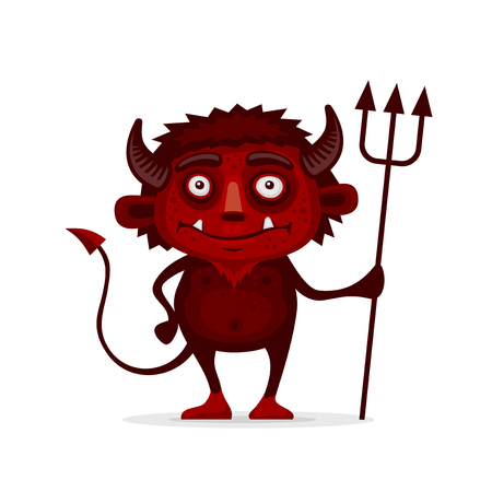 infernal: Red Halloween Devil with Trident in Cartoon Style. Vector illustration