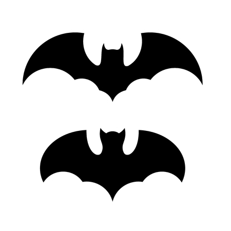 Halloween Bat Icon Set. Black on White Background. Vector illustration