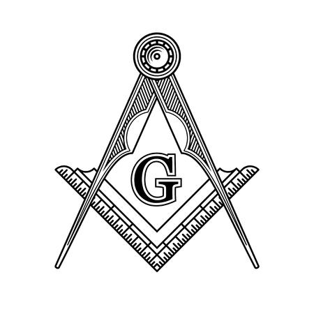 kompas: Masonic Svobodné zednářství Emblem Icon Logo. Vektorové ilustrace Ilustrace