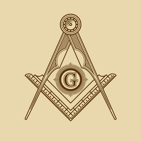 freemasonry: Masonic Freemasonry Emblem Icon Logo. Vector illustration