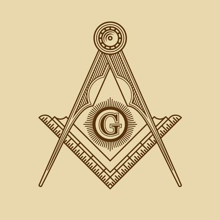 hermetic: Masonic Freemasonry Emblem Icon Logo. Vector illustration