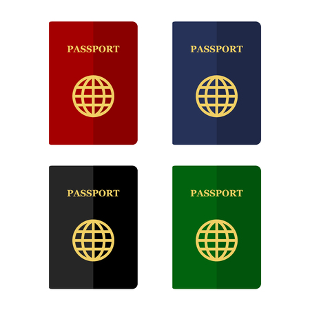 passport: Color Passports Icons Set in Flat Style. Vector illustration