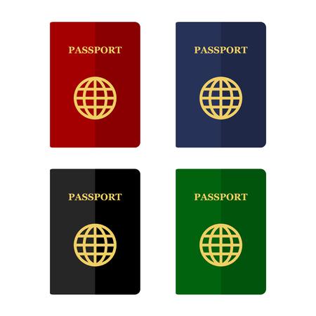pasaporte: Pasaportes de color Conjunto de iconos en Flat estilo. ilustración vectorial
