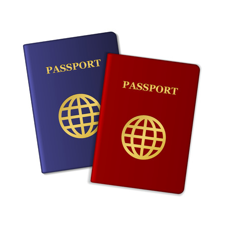citizenship: Blue and Red Passports Isolated on White Background. Vector illustration