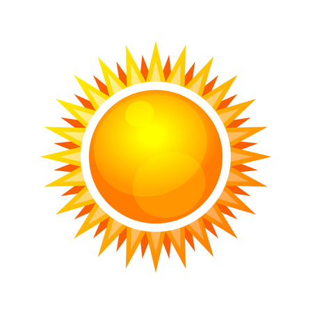 sun rising: Cartoon Style Glossy Sun Icon. Vector illustration