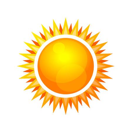 słońce: Cartoon Style Sun Błyszczący Ikona. ilustracji wektorowych